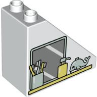 Duplo blokken  4x2x3 schuin aflopend wit spiegel  - nieuw