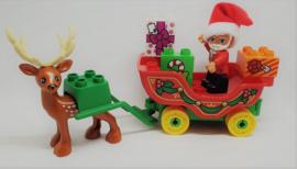 Duplo kerstman met arreslee en rendier