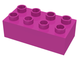 Duplo blokken 2x4 - bouwstenen donker roze