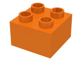Duplo blokken 2x2 - bouwstenen oranje