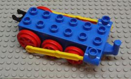 Duplo stoomtrein locomotief onderstel 2x6, blauw met rode wielen en beweegbare haak