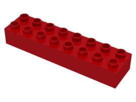 Duplo blokken : 2x8 duplo blokje rood