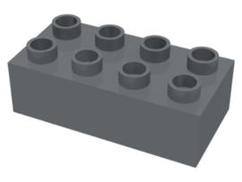 Duplo blokken 2x4 - bouwstenen donker grijs