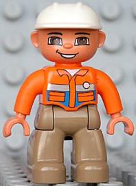 Duplo poppetje Bouwvakker met witte helm en oranje shirt