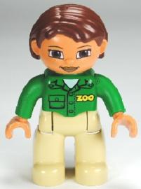 Lego Duplo dierentuin poppetje - dierenverzorgster groen