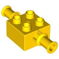 Duplo blokje geel 2x2 met houder voor graafmachine arm
