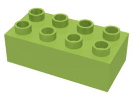 Duplo blokken 2x4 -bouwstenen lime
