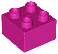 Duplo blokken 2x2 - bouwsteen magenta