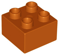 Duplo blokken 2x2 - bouwstenen bruin / donker oranje