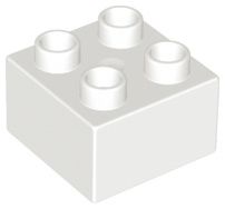 Duplo blokken 2x2 - bouwsteen wit