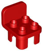Duplo stoel rood met ronde leuning