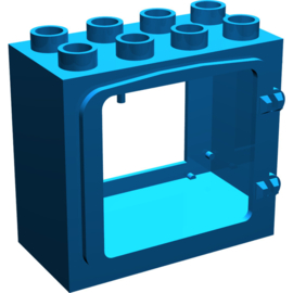 Raam frame licht blauw opgehoogd raam frame