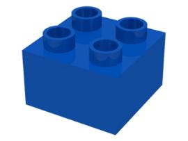 Duplo blokken 2x2 - Blauwe bouwsteen