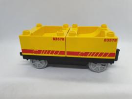 Duplo trein wagon gele containers