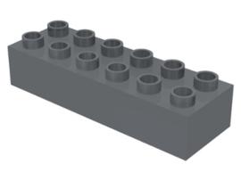 Duplo blokken - 2x 6 noppen donkergrijs