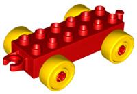 Duplo auto/trein aanhanger 2x6 rood met gele wielen