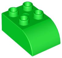 Duplo blok/steen 2x3 met gecurvde bovenkant licht groen