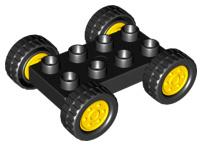 Duplo auto basis zwart - met zwart gele wielen - nieuw