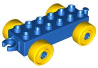 Duplo auto/trein aanhanger 2x6 blauw met gele wielen