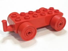 Duplo auto/trein aanhanger 2x6 rood met rode wielen met gesloten haak