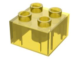 Duplo blokken 2x2 - bouwsteen doorzichtig geel