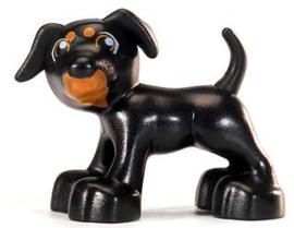Duplo dieren : zwart hondje bruine bek