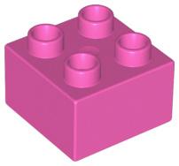 Duplo blokken 2x2 - bouwsteen donker Roze