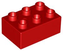 Duplo blokken : 2x3 duplo blokje rood