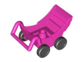 Kinderwagen roze met zwarte wielen