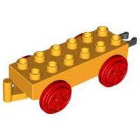 Duplo trein onderstel 2x6, licht oranje met rode wielen en beweegbare haak