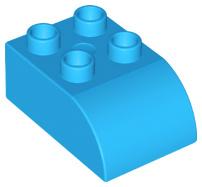 Duplo blok/steen 2x3 met gecurvde bovenkant donker azure