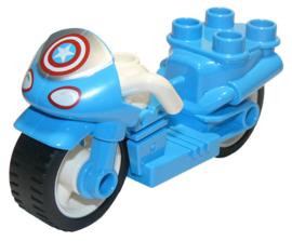 Motor met rubberen wielen, koplampen en Captain America-sterpatroon nieuw