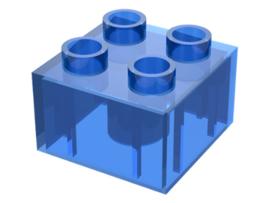 Duplo blokken 2x2 - bouwstenen doorzichtig blauw