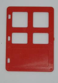 Duplo rechte deur met verschillende maten ramen - rood