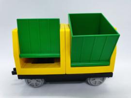 Duplo trein wagongeel met groene containers