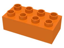 Duplo blokken 2x4 - bouwstenen oranje