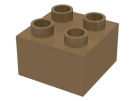 Duplo blokken 2x2 - bouwstenen donker beige