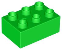 Duplo blokken : 2x3 duplo blokje licht groen
