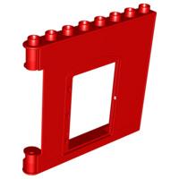 Muur deel met deur opening rood