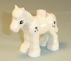 Duplo paard klein wit met zwarte vlekjes