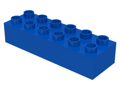 Duplo blokken - 2x 6 noppen blauw nieuw