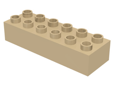 Duplo blokken - 2x6 noppen beige nieuw - ongebruikt