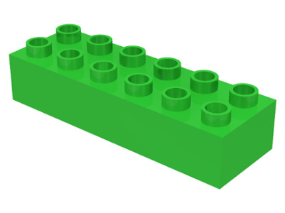Duplo blokken - 2x6 noppen licht groen nieuw