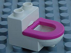 Duplo wit toilet met roze bril