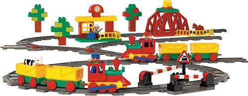 Duplo trein onderstel 2x6, groen met rode wielen en beweegbare haak