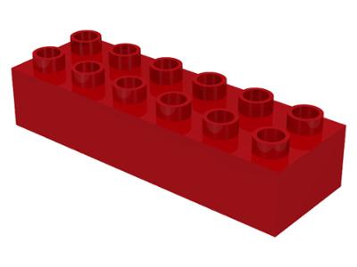 Duplo blokken - 2x6 noppen bouwstenen rood nieuw