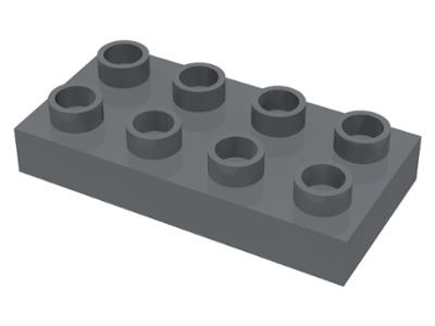 Duplo bouwplaat 2x4 x 1/2 donker grijs nieuw