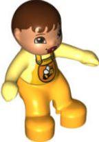 Baby met speen en bij op shirt - oranje romper