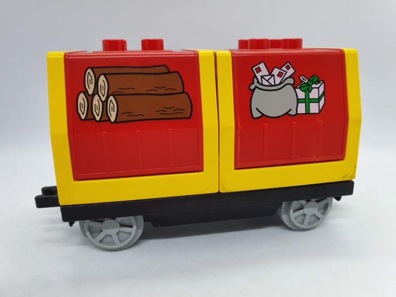 Duplo trein wagon geld en hout vervoer