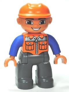Hans de Bouwvakker met oranje helm